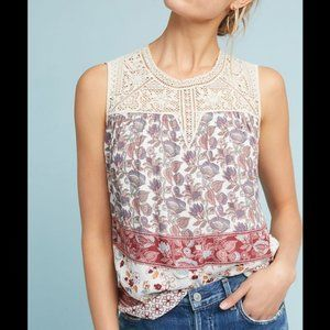 Anthropologie Maeve Lace Boho Tank Top S